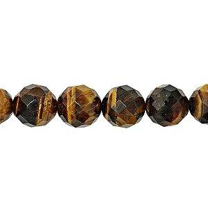 10-0147 - Fio de Pedras Olho de Tigre Bolas Facetadas 14mm