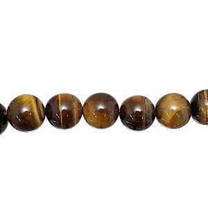 10-0148 - Fio de Pedras Olho de Tigre Bolas com Passante 14mm