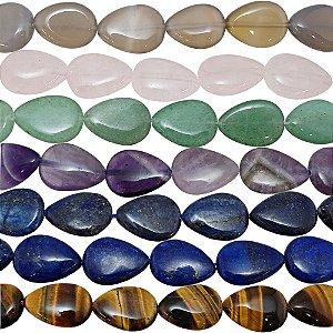 10-0169 - Fio de Pedras Quartzo Colorido Gotas com Passante 13mmx18mm