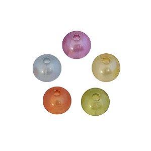 05-0093 - Pacote com 1 Kg de Acrílico Perolado Colorido Bola com Passante 11mm