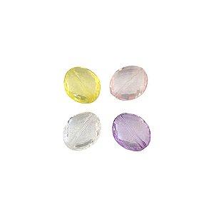 05-0179 - Pacote com 1 Kg de Acrílico Colorido Oval Facetado 14mmx16mm