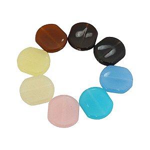 05-0276 - Pacote com 1 Kg de Acrílico Colorido Oval com Passante 20mmx19mm