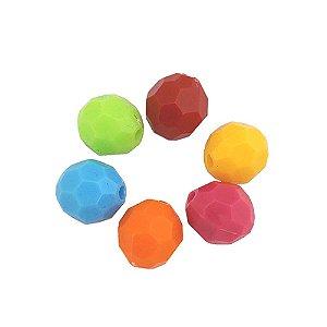 05-0734 - Pacote com 1 Kg de Acrílico Colorido Bola Facetada 14mm
