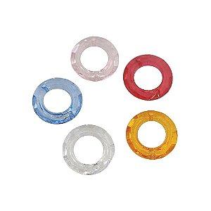 05-0762 - Pacote com 1 Kg de Acrílico Colorido Argola com Dois Furos 20mm