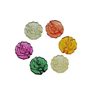 05-0848 - Pacote com 1 Kg de Acrílico Colorido Flor com Passante 32mm