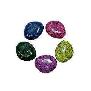 05-0896 - Pacote com 1 Kg de Acrílico Colorido Oval Imitação de Pedra 24mmx30mm