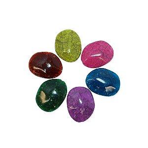 05-0914 - Pacote com 1Kg de Acrílico Oval Imitação de Pedra 21mmx27mm