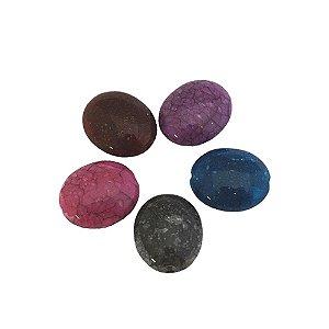 05-0917 - Pacote com 1 Kg de Acrílico Colorido Oval Imitação de Pedra 15mmx18mm