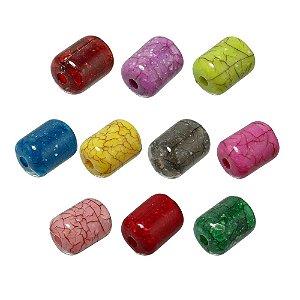 05-0920 - Pacote com 1 Kg de Acrílico Colorido Tubo Imitação de Pedra 09mmx12mm