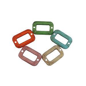 05-0954 - Pacote com 1 Kg de Acrílico Colorido Retângulo Imitação de Pedra 13mmx20mm