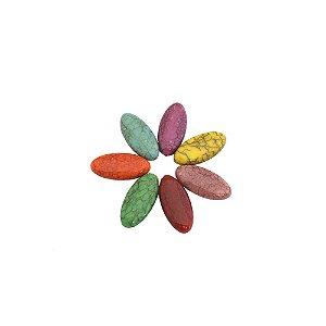 05-0955 - Pacote com 1Kg de Acrílico Oval Imitação de Pedra 16mmx35mm