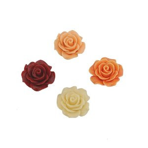 05-1010 - Pacote com 100 Flores com Pétalas em Resina 20mm