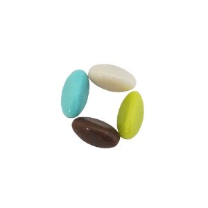 05-1028 - Pacote com 1 Kg de Acrílico Colorido Oval com Passante 16mmx9mm