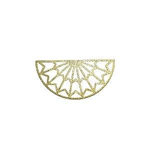 01-2121 - 1/2Kg de Estamparia Diamantada Semicírculo Tribal Grande 22mm x 45mm
