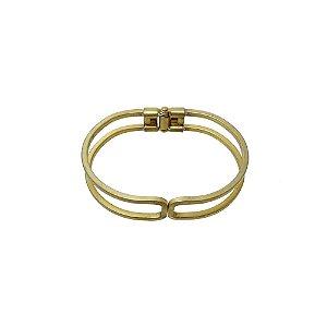 01-1477 - Pulseira Bracelete em Latão com Fecho de Pressão 13mm x 67mm