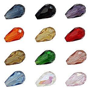 11-0109- Pacote com 100 Gotas de Vidro Facetado Colorido 10mmx14mm