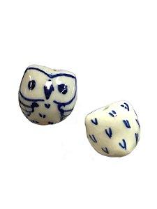11-0118 Pacote com 50 Corujas com Passante Pintadas em Porcelana 14mm