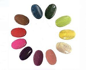 05-0811 Pacote com 1kg Acrílico Colorido Imitação Pedra Oval 22,5mmx35,5mm