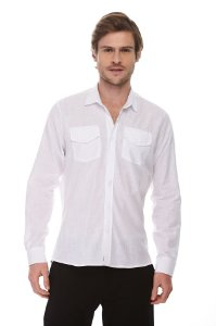 Camisa Social Ml Pure White
