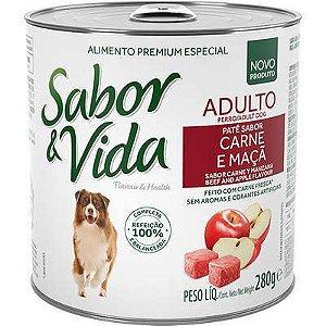 SABOR E VIDA CAES ADULTO CARNE E MAÇA LATA 280G