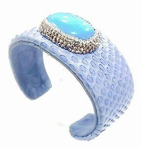 Bracelete em Couro, micro pedras naturais Marcassita