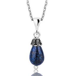 Colar de Prata,  Pedra Natural Lapis Lazuli