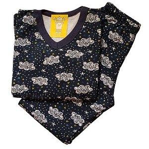 Pijama Infantil Flanelado - 4 ao 8 - Chuva de Amor Marinho
