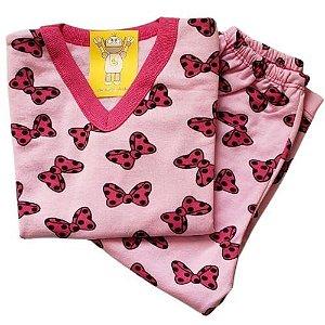 Pijama Infantil Flanelado - 4 ao 8 - Laços
