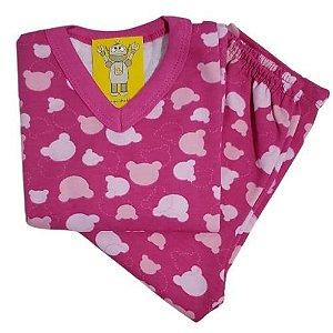 Pijama Infantil Flanelado - 4 ao 8 - Ursinho Pink