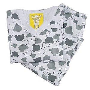 Pijama Infantil Flanelado - 1 ao 3 - Ursinho Branco