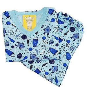 Pijama Infantil Flanelado - 4 ao 8 - Espacial