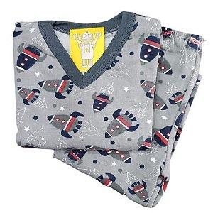 Pijama Infantil Flanelado - 4 ao 8 - Foguete Cinza