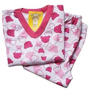 Pijama Infantil Flanelado - 1 ao 3 - Ursinho Candy