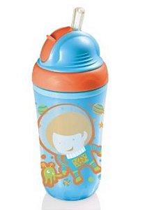 Copo térmico infantil com canudo de silicone - AZUL