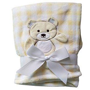Manta cobertor para bebê - Ursinho  Xadrez Amarelo