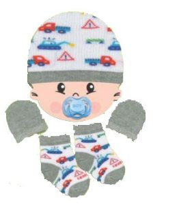 Kit Touca, luvas e meias tricô - Construtor