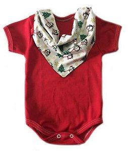 Conjunto de body vermelho e bandana natal Pinguim