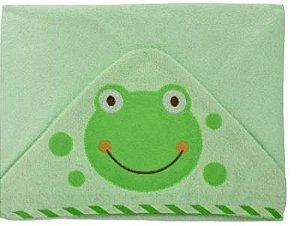 Toalha de banho com capuz forrada com fralda - Carinhas SAPINHO