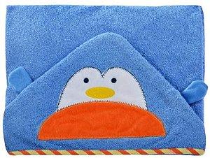 Toalha de banho com capuz forrada com fralda - Carinhas PINGUIM
