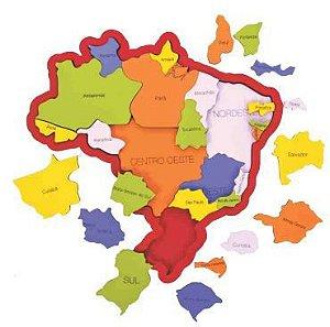 Quebra Cabeça Mapa do Brasil  em madeira