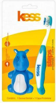 Escova dental infantil com capa bichos - HIPOPOTAMO