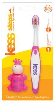 Escova dental infantil com capa bichos - HIPOPOTAMO ROSA