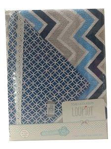 Toalha de Banho com capuz de felpa e forro em fralda - Chevron Azul Marinho