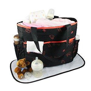 Bolsa de Bebê Estampada MAMMA & ME - PRETO / LARANJA