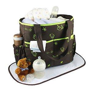 Bolsa de Bebê Estampada  MAMA & ME - MARROM/VERDE