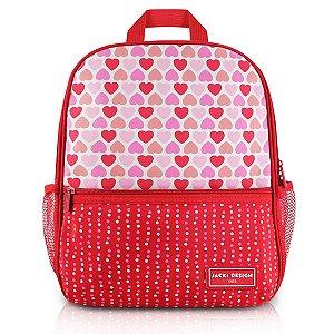 Mochila Escolar SAPEKA - Corações Vermelho