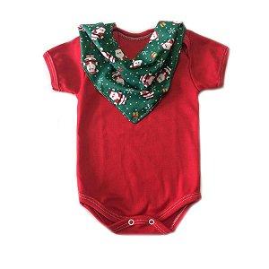 Conjunto de body vermelho e bandana natal Papai Noel