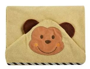 Toalha de banho com capuz forrada com fralda - Carinhas MACAQUINHO
