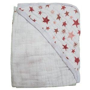 Toalha de Banho com Capuz Swaddle  - Estrelas Rose