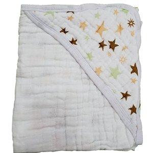 Toalha de Banho com Capuz Swaddle  - Estrelas Verde